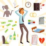 Attributen en symbolen van spanning en vrees stock illustratie
