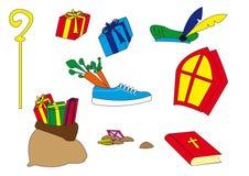 Attributen Sinterklaas royaltyfri illustrationer