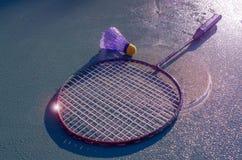 Attributen som krävs för badminton, instagram royaltyfri foto