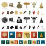 Attributen van de wilde pictogrammen van het het westenbeeldverhaal in vastgestelde inzameling voor ontwerp Web van de het symboo vector illustratie