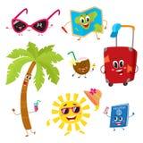 Attributen van de zomervakantie, reis aan keerkringen als grappige karakters royalty-vrije illustratie