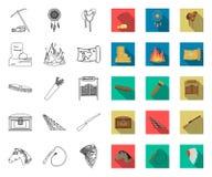 Attributen van het wilde het westenoverzicht, vlakke pictogrammen in vastgestelde inzameling voor ontwerp Web van de het symboolv vector illustratie