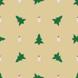 Attributen van Kerstmis op een beige achtergrond Stock Afbeeldingen