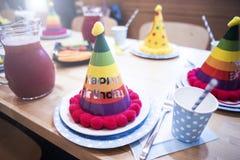 Attributen van kinderen` s vakantie De partij van de kinderen` s verjaardag stock foto's