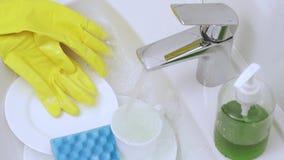 Attributen voor wasschotels stock video