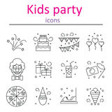 Attributes accessories drinks entertainment venue for children`s holiday. Set of icons of kids party. Royalty Free Stock Photo