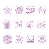 Attributes accessories drinks entertainment venue for children`s holiday. Set of icons of kids party. Vector illustration Stock Images