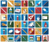 Attributes of art icons Stock Photo
