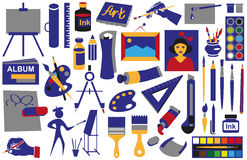 Attributes art icons Royalty Free Stock Image