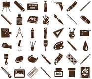 Attributes of art icons on white Stock Image