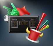 Attributes of the fans. Vector digital display and attributes of the fans with foam hands, ball, flag, trumpet and hat with horns Stock Images