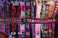 Attributes of FC Barcelona. Football club scarfs. Spain royalty free stock photo