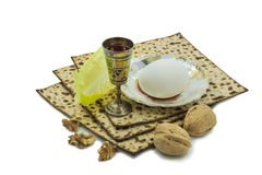 Attributes of Jewish Passover Seder celebration Stock Photography