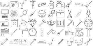 The attributes of labor vector illustration