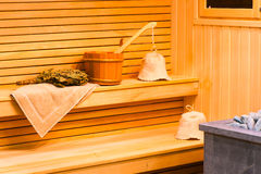 Attributes for paired procedures in sauna Royalty Free Stock Images