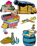 Attributes of pirates. The illustration presented a male pirate near the gun and several pirate attributes.Illustration done in cartoon style on separate layers Stock Image