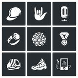 Attributes rapper icons set. Vector Illustration. Royalty Free Stock Photos