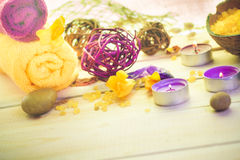 Attributes relaxation spa wooden table Stock Images