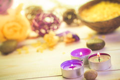 Attributes relaxation spa wooden table Royalty Free Stock Images