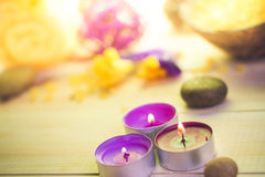 Attributes relaxation spa wooden table Royalty Free Stock Photography