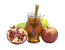 Attributes of rosh hashanah isolated on white Royalty Free Stock Image
