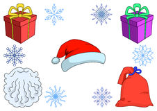 Attributes of the Santa Claus Stock Images