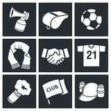 Attributes Soccer fan icon collection Stock Photography