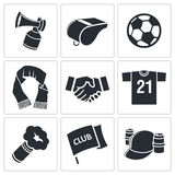 Attributes Soccer fan icon set Royalty Free Stock Image