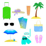The attributes of summer vacation Royalty Free Stock Image