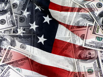 Attributes US. Abstract background of dollars and US flag Stock Photography
