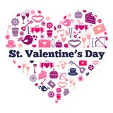 Attributes of Valentines day on heart shape Royalty Free Stock Photography