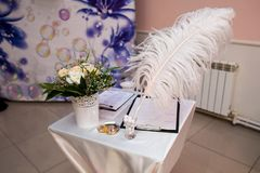 Attributes of the wedding ceremony. Wedding accessories for the ceremony stock photo