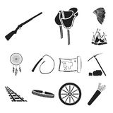 Attributes of the wild west black icons in set collection for design.Texas and America vector symbol stock web. Attributes of the wild west black icons in set Stock Images