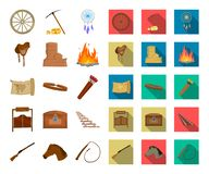 Attributes of the wild west cartoon,flat icons in set collection for design.Texas and America vector symbol stock web. Attributes of the wild west cartoon,flat royalty free illustration