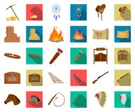 Attributes of the wild west cartoon,flat icons in set collection for design.Texas and America vector symbol stock web. Attributes of the wild west cartoon,flat vector illustration