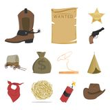 Attributes of the wild west cartoon icons in set collection for design.Texas and America vector symbol stock web. Attributes of the wild west cartoon icons in Royalty Free Stock Photography