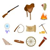 Attributes of the wild west cartoon icons in set collection for design.Texas and America vector symbol stock web. Attributes of the wild west cartoon icons in Stock Images