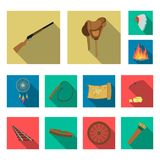 Attributes of the wild west flat icons in set collection for design.Texas and America vector symbol stock web. Attributes of the wild west flat icons in set Royalty Free Stock Photography