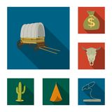 Attributes of the wild west flat icons in set collection for design.Texas and America vector symbol stock web. Attributes of the wild west flat icons in set Stock Image