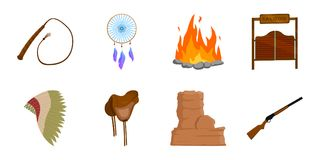 Attributes of the wild west icons in set collection for design. Texas and America vector symbol stock web illustration. Stock Photo
