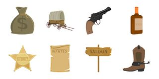Attributes of the wild west icons in set collection for design. Texas and America vector symbol stock web illustration. Royalty Free Stock Photo