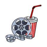 Attributi del cinema, bobina di film e selz in tazza di carta illustrazione vettoriale