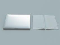 Attributi del progettista di web su fondo grigio Vista superiore Disposizione piana rappresentazione 3d Di alta risoluzione Fotografie Stock