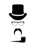 Attributi del signore (cappelli, occhiali, baffi, Fotografia Stock Libera da Diritti