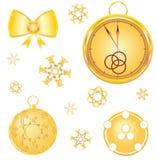 Attributi dell'oro di nuovo anno Immagini Stock