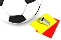 Attributi di un arbitro di calcio: giallo e cartellini rossi, un fischio, Fotografia Stock