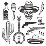 Attributi etnici messicani fissati degli oggetti di vettore royalty illustrazione gratis