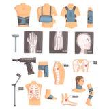 Attributi ortopedici di ortopedia e della chirurgia ed insieme di strumenti delle icone del fumetto con le fasciature, i raggi x  illustrazione vettoriale
