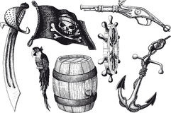 Attributs d'ensemble de pirate illustration stock