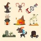 Attributs de Halloween, caractères réglés dans le style plat illustration stock